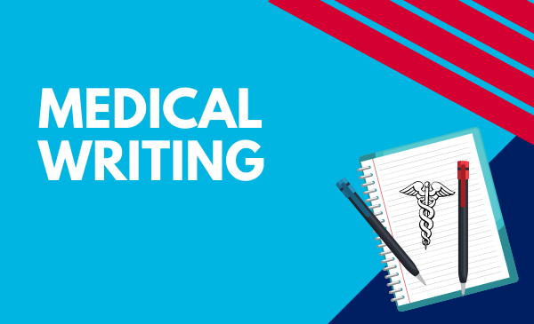 medical writing with notepad and medical symbol