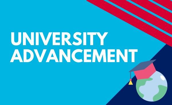 university advancement with globe and graduation cap